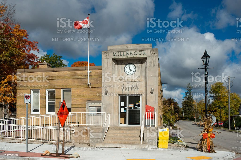 The old Post Office building in Millbrook, Canada stock photo