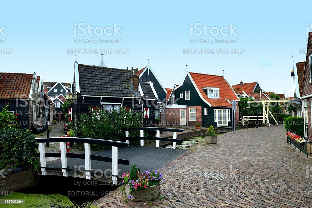 The old residential area of Volendam stock photo