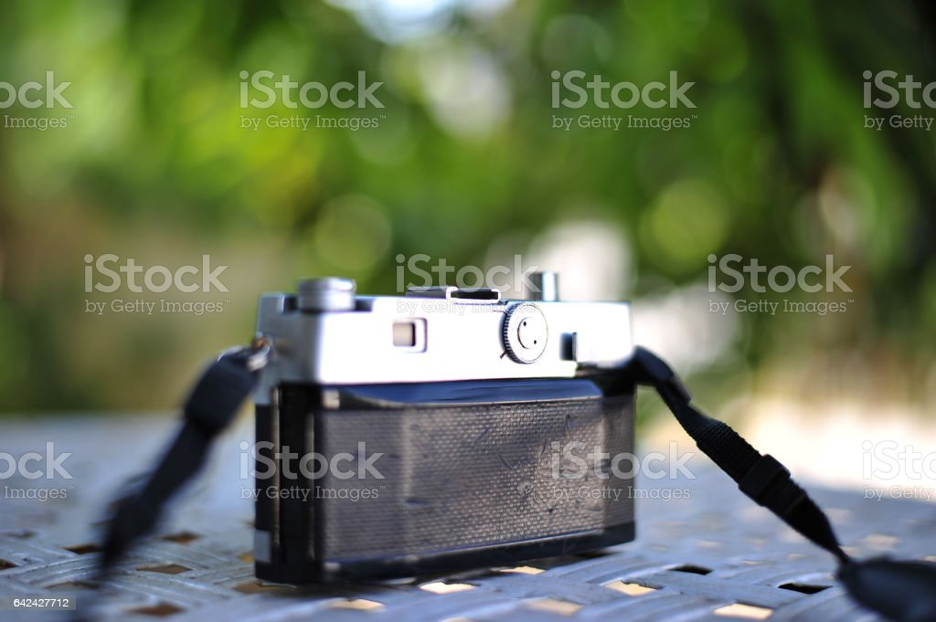 the old retro vintage of rangefinder film camera style is the classic object item in past history of photography stock photo