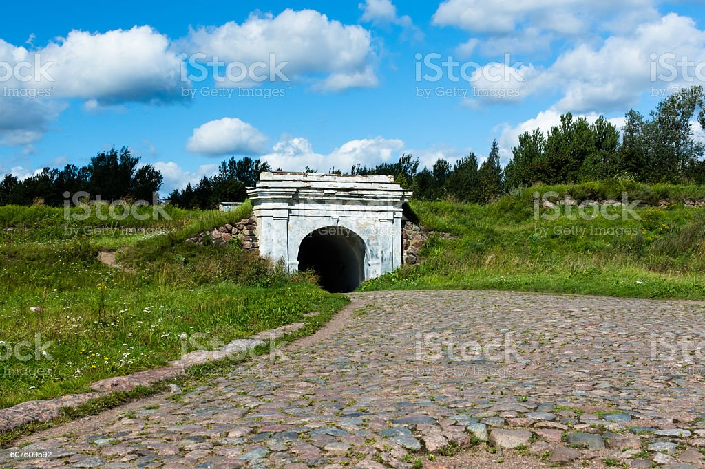 the old road through the arch stock photo