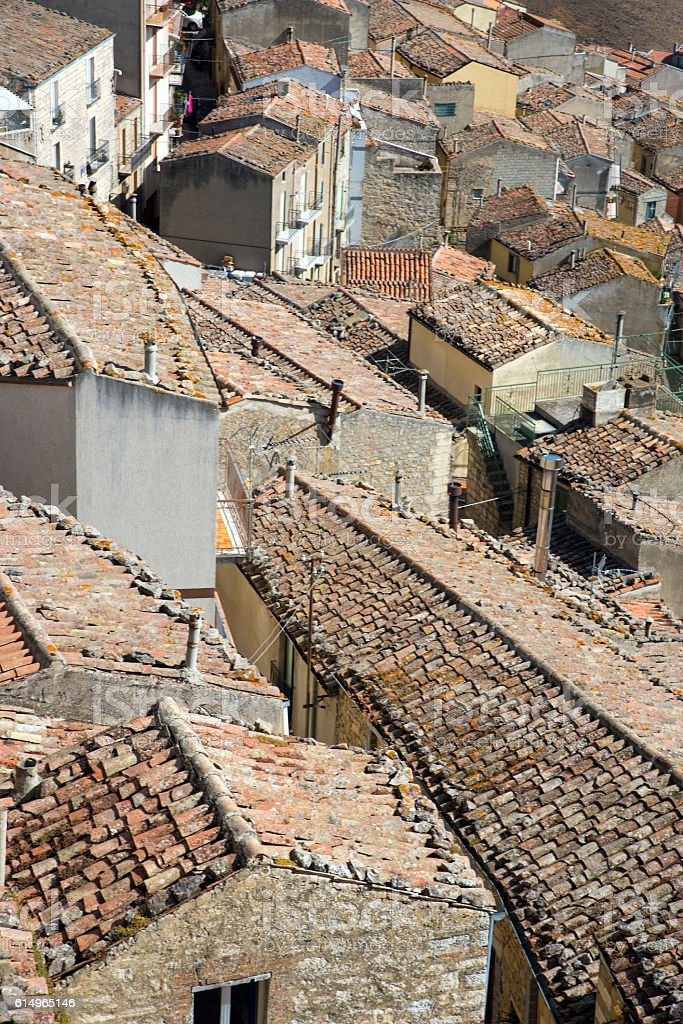 The old roofs of Gangi in Sicily stock photo