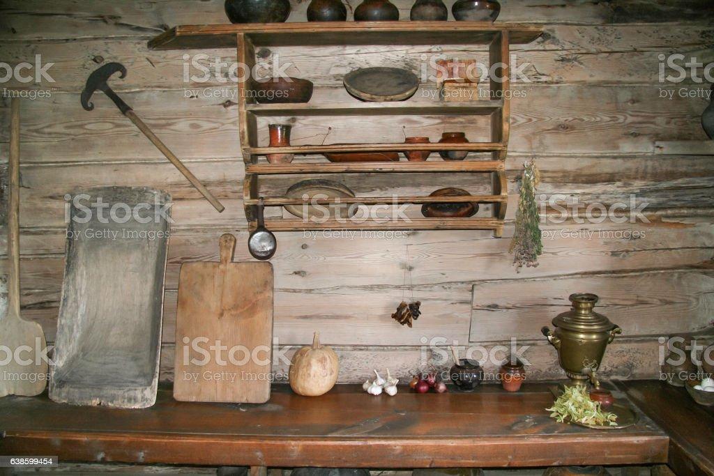 the old Russian village interior stock photo