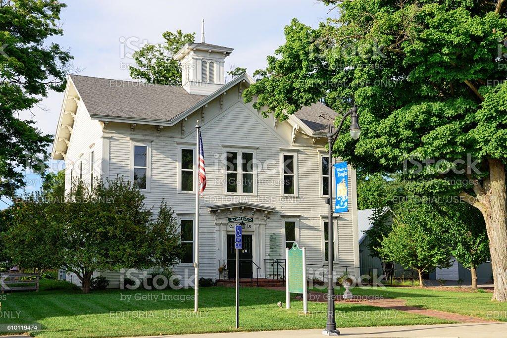 The Old School House in Douglas, Michigan stock photo