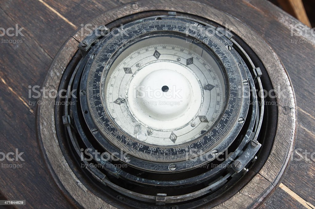 The old ship's compass, close-up royalty-free stock photo