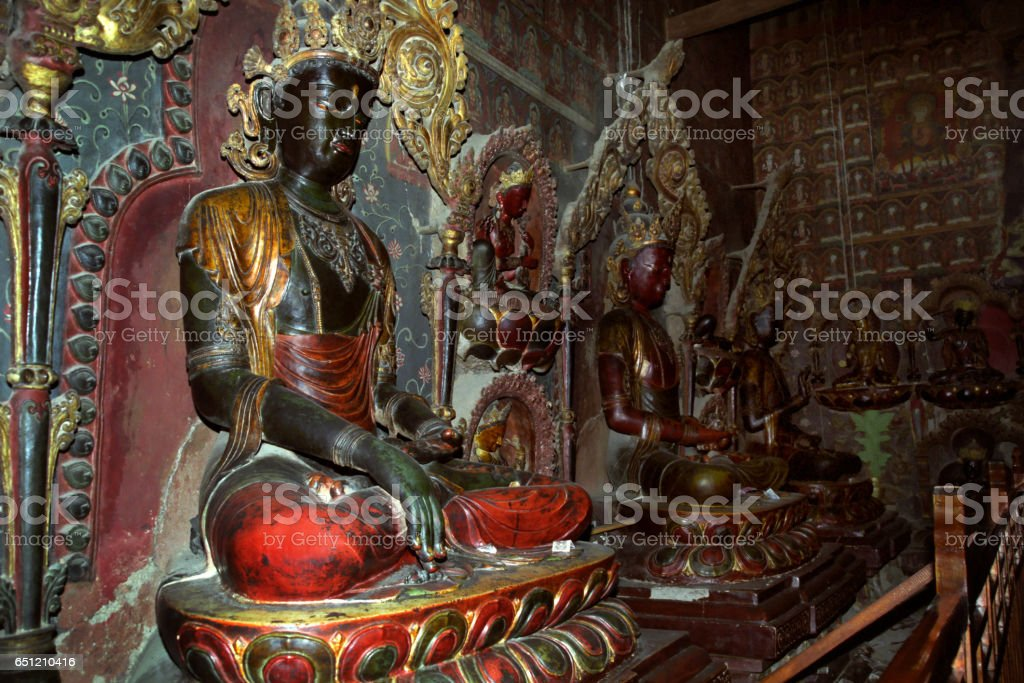 The old statue of Buddha. stock photo
