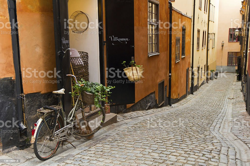 The old street in Stockholm. stock photo
