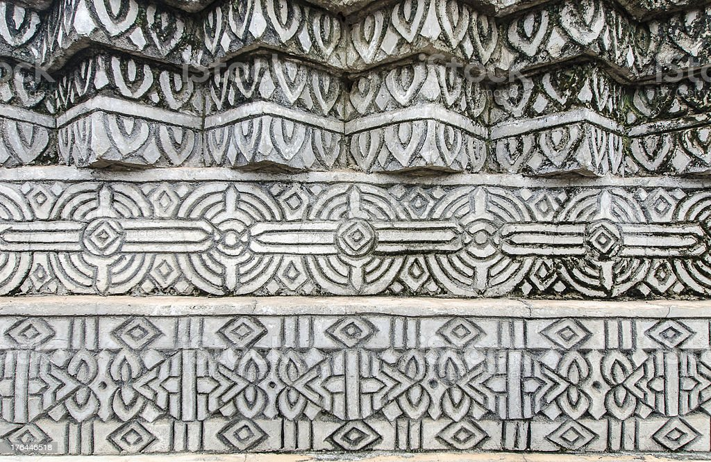 The old thai style stucco wall royalty-free stock photo