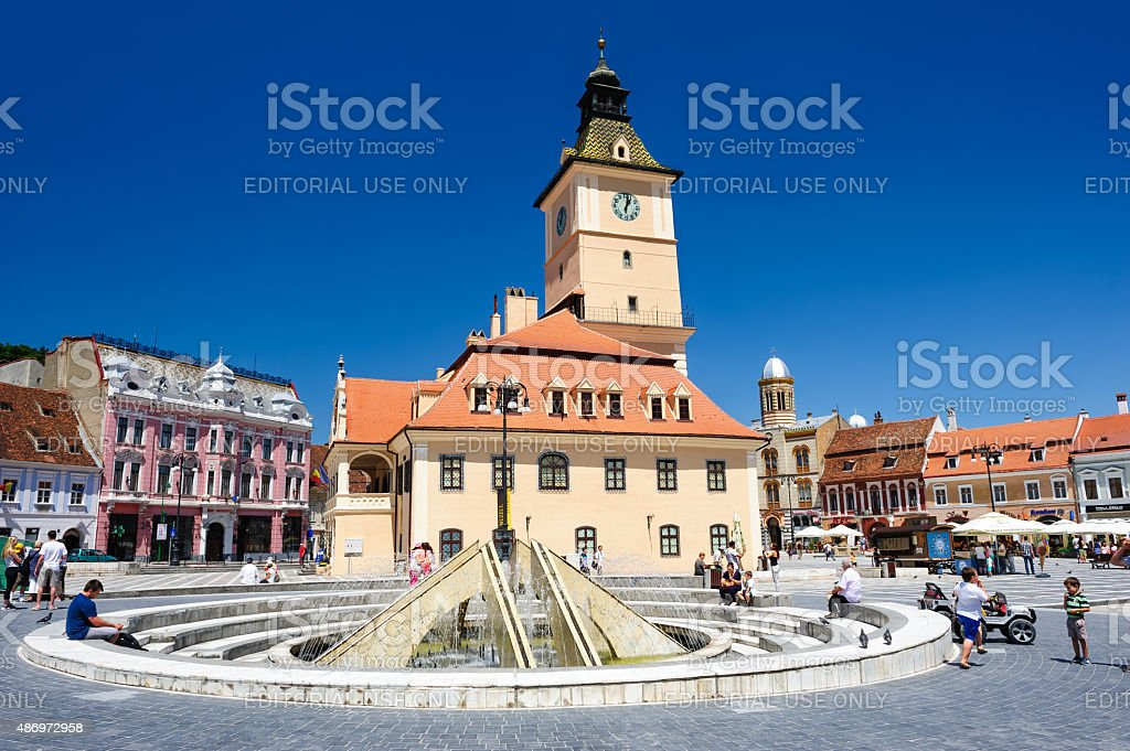 The old town hall and the council square, Brasov stock photo