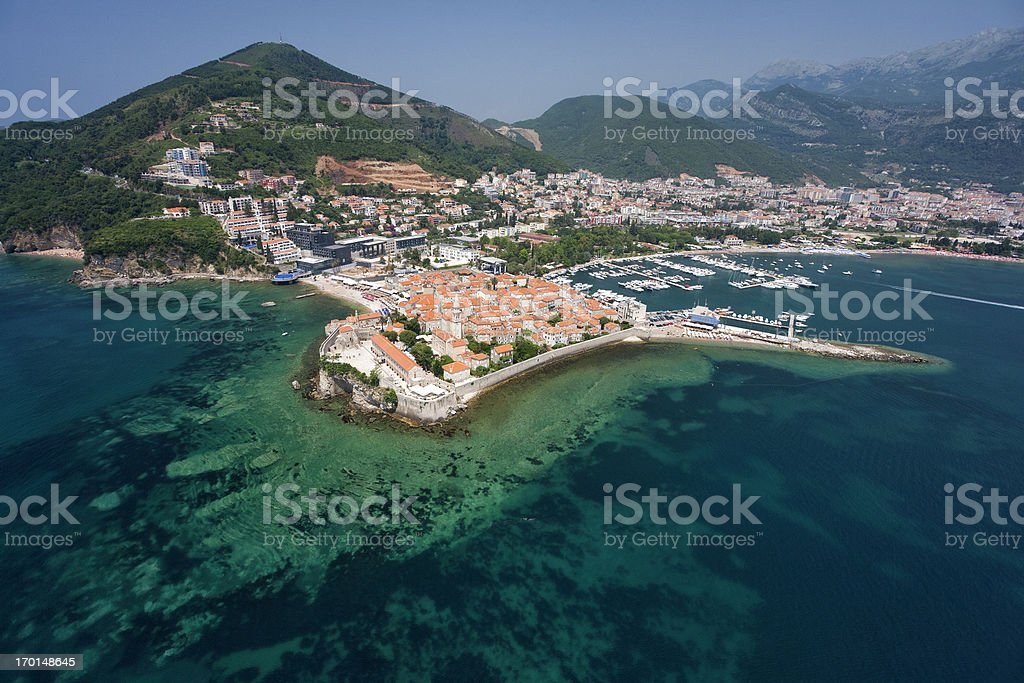 The Old Town of Budva, Montenegro (aerial view) stock photo