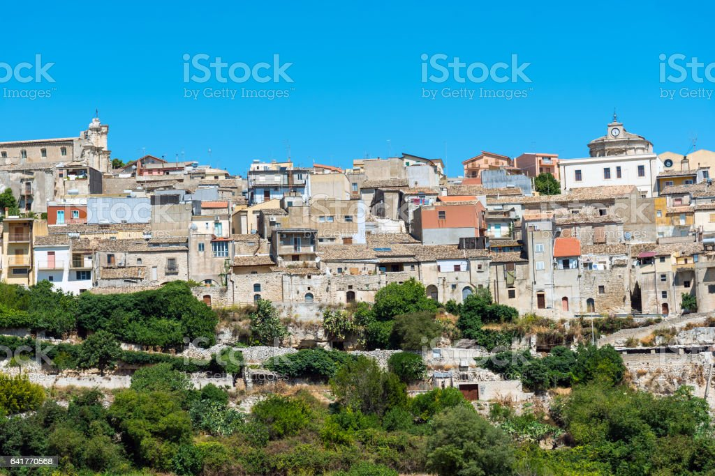 The old town of Buscemi in Sicily stock photo