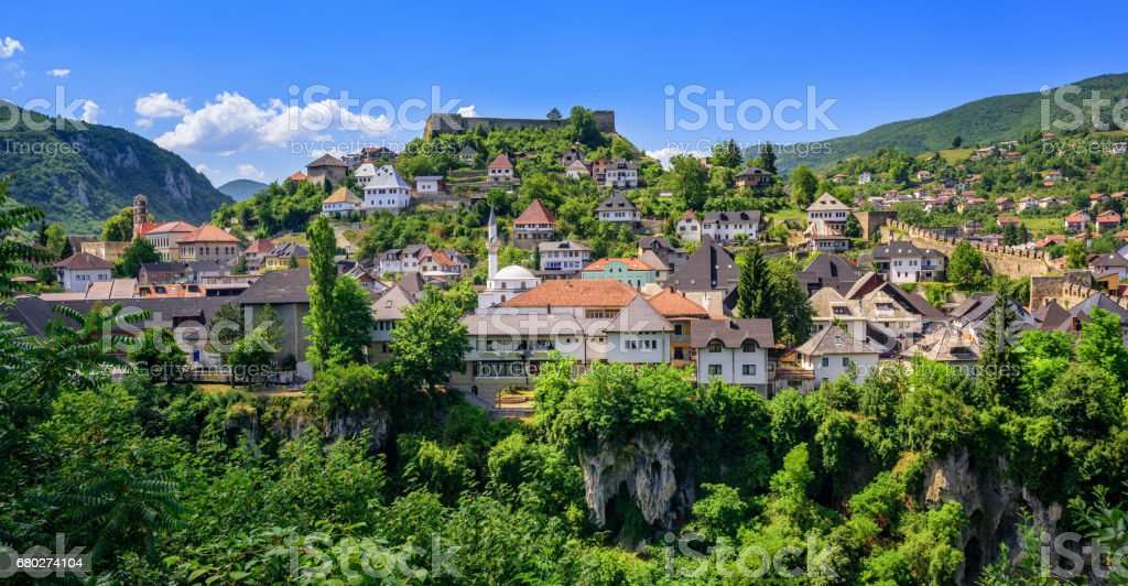 The old town of Jajce, Bosnia and Herzegovina stock photo