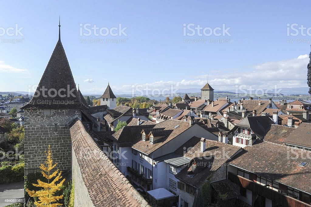 The old town of Murten stock photo