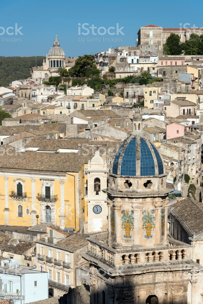 The old town of Ragusa Ibla in Sicily stock photo