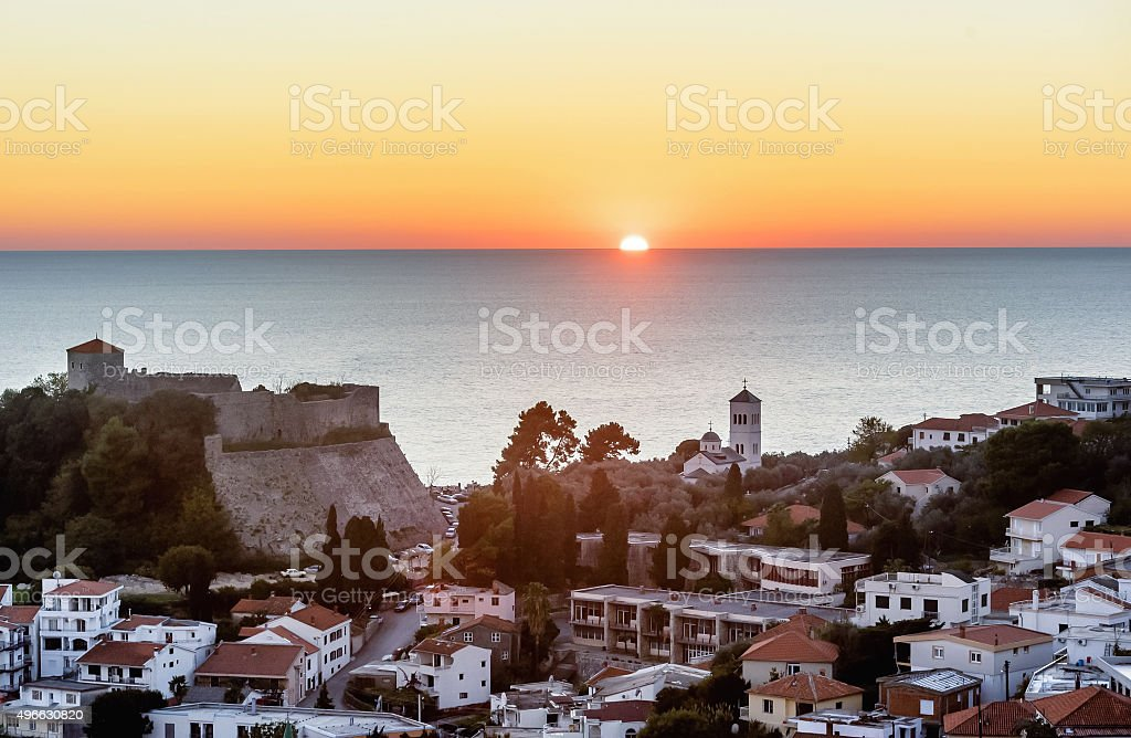 The old town of Ulcinj city  in the sunset, Montenegro stock photo