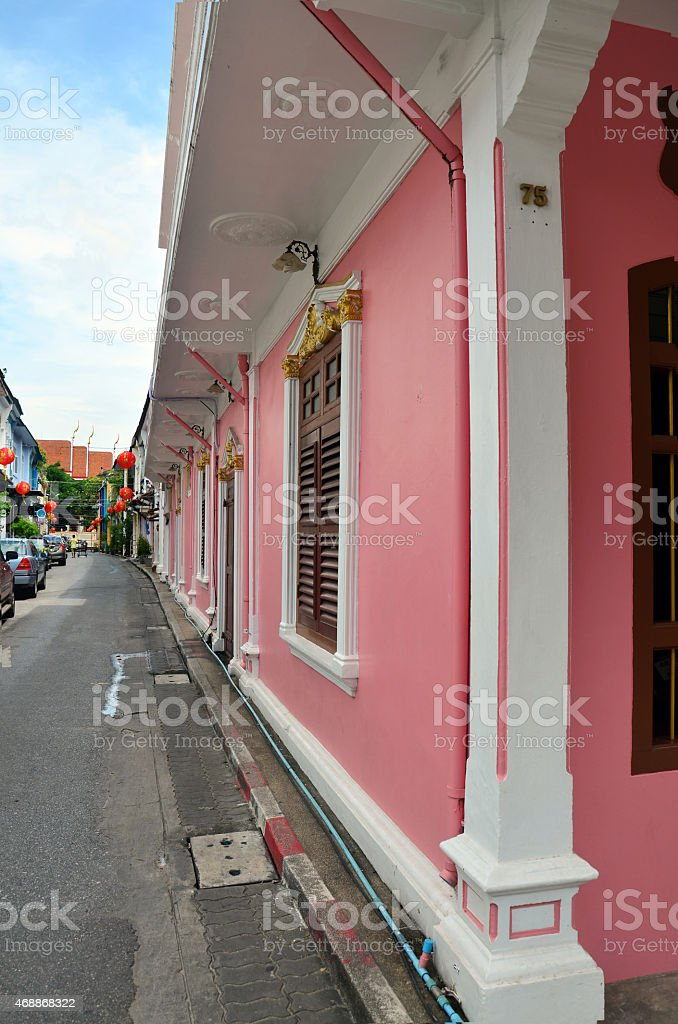 The Old Town Phuket Chino Portuguese Style at soi rommanee stock photo