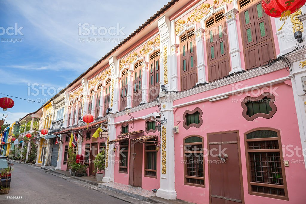 The Old Town Phuket Chino Portuguese Style stock photo
