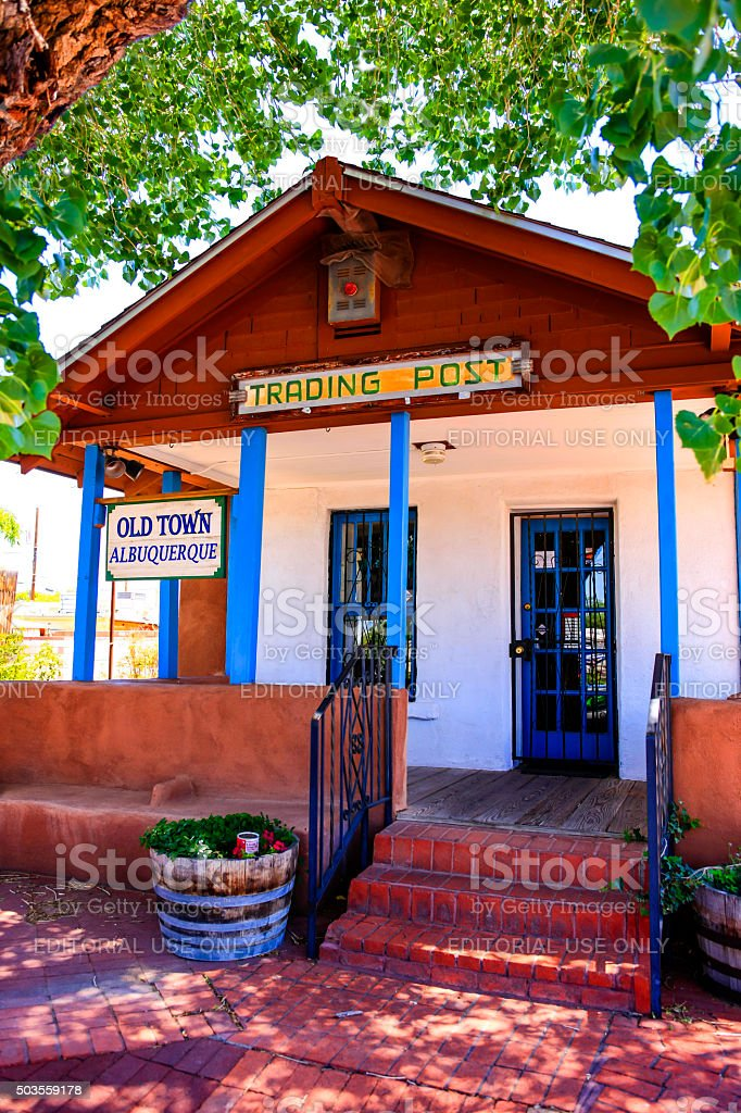 The old town Trading Post store in downtown Old Albuquerque. stock photo