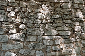 The old wall of stones and clay