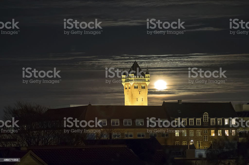 The old water tower at night, Esbjerg, Denmark stock photo