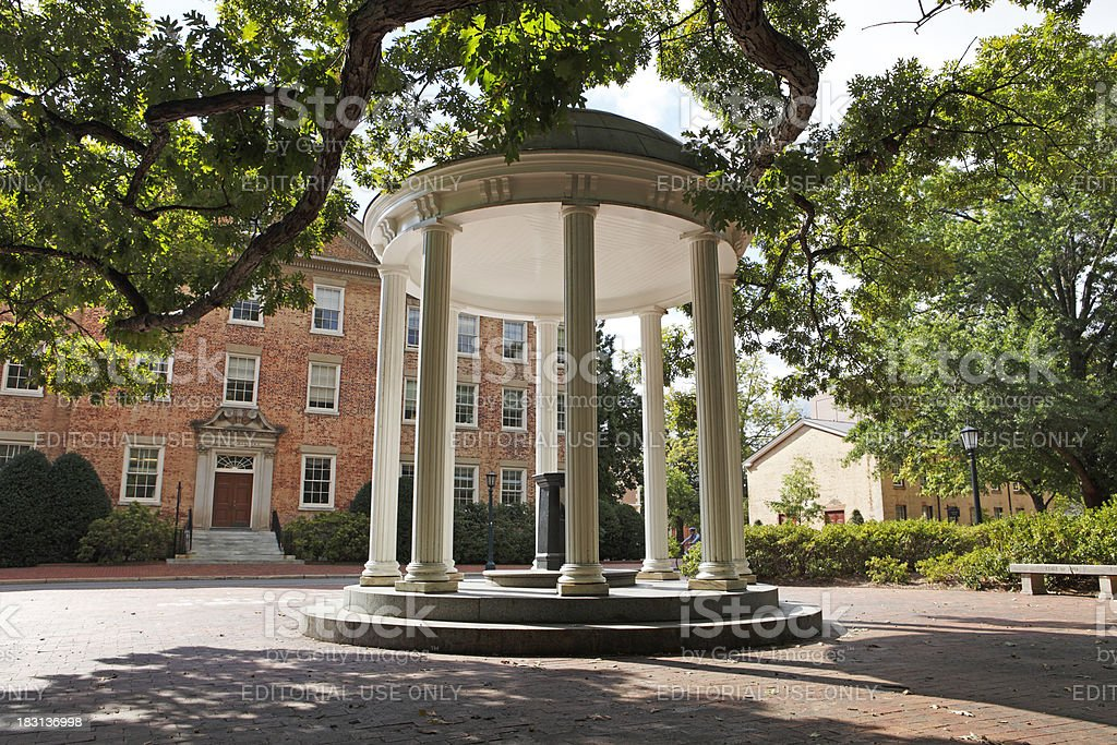 The Old Well at the University of North Carolina Chapel Hill stock photo