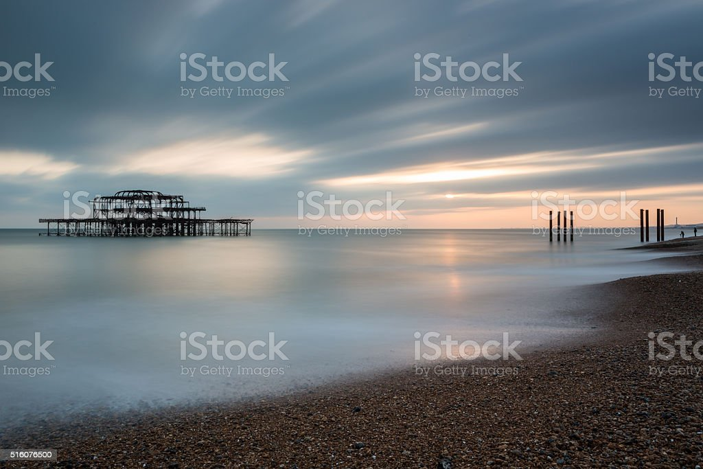 The old West Pier, Brighton and Hove at sunset stock photo