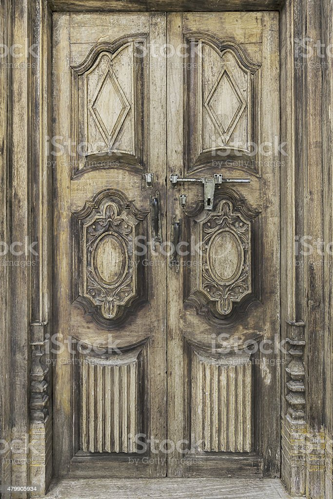 The Old wood Door with French rococo style. stock photo
