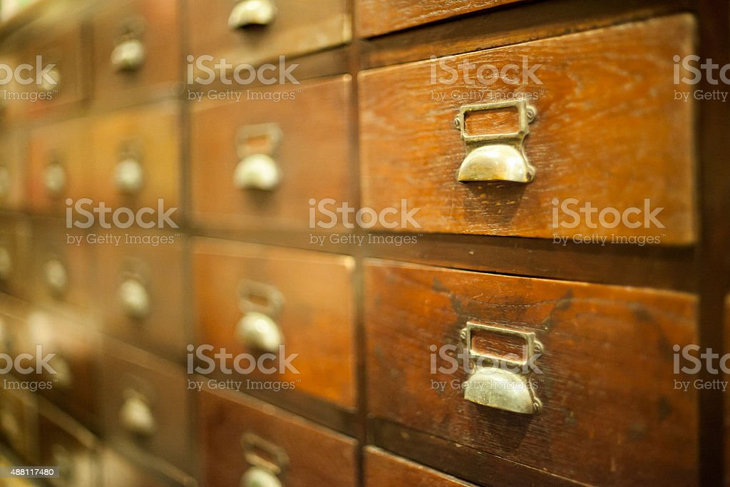 The old wooden drawers stock photo