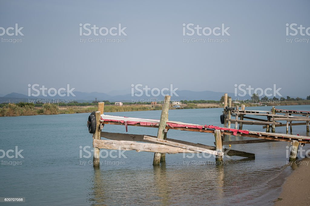 The old wooden pier stock photo
