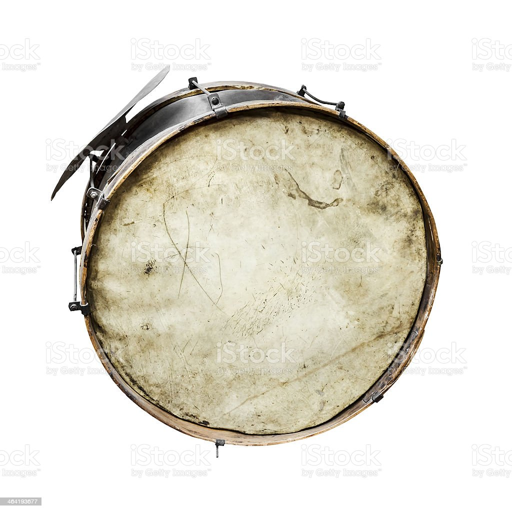 The old, worldly-wise, dusty bass drum stock photo