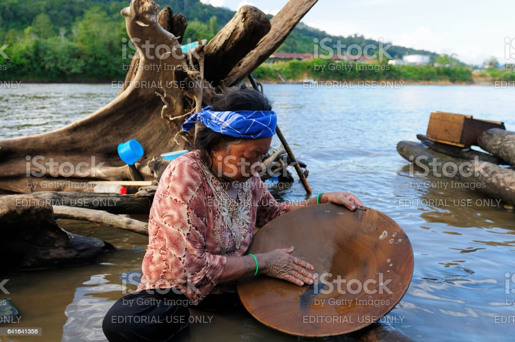 The older Dayak woman stock photo
