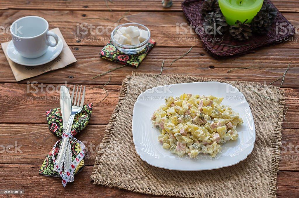 The Olivier salad stock photo