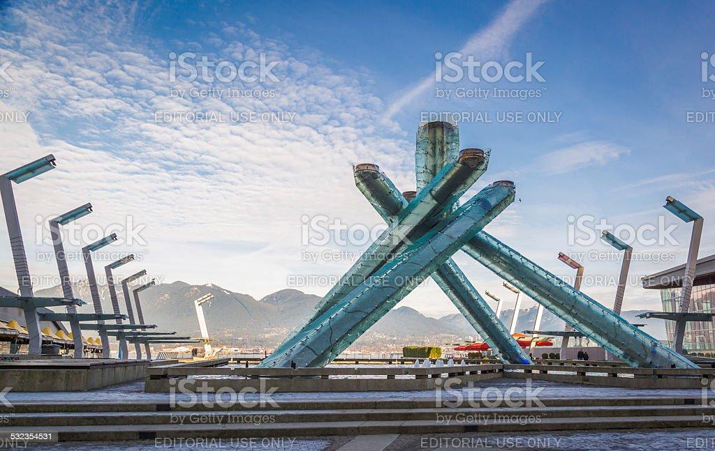 The Olympic Cauldron at Jack Poole Plaza. stock photo