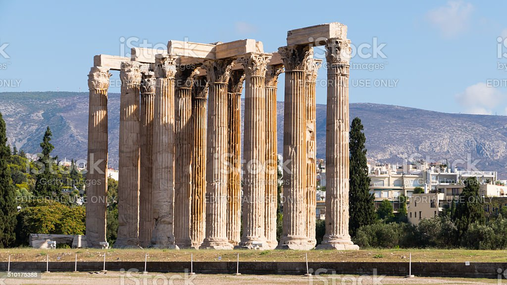 The Olympieion in Athens, Greece stock photo