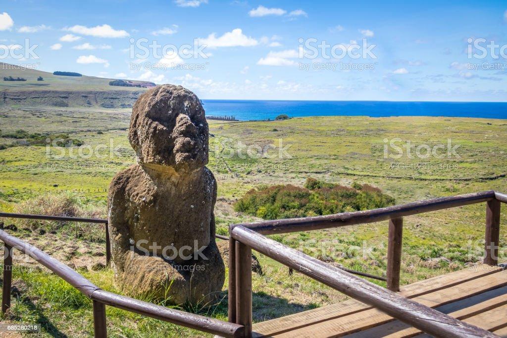The only sitting Moai Statue at Rano Raraku Volcano Quarry - Easter Island, Chile stock photo