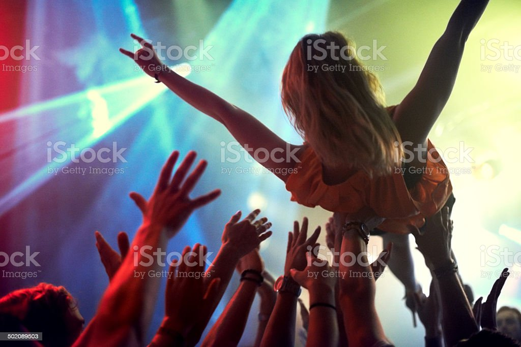 The only way to feel at one with an audience stock photo
