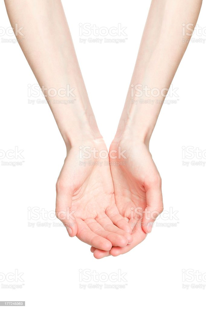 The open hands of a young woman stock photo