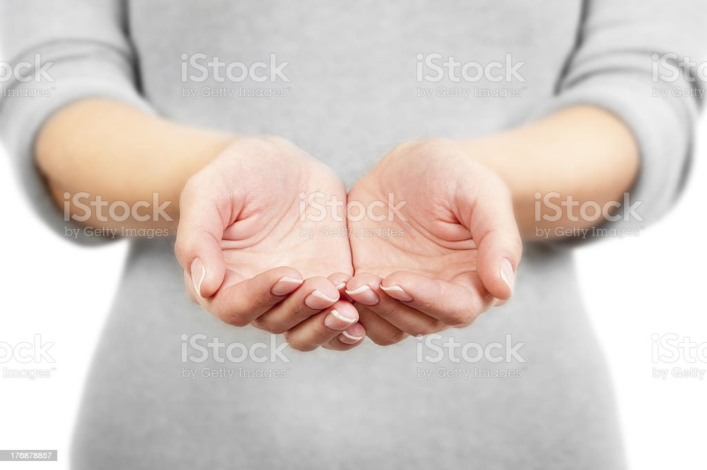 The open hands of woman. stock photo
