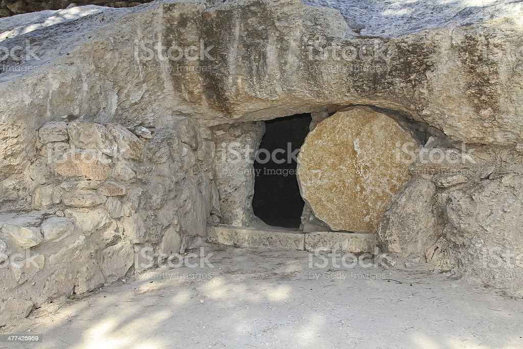 The open tomb of Jesus in Jerusalem stock photo