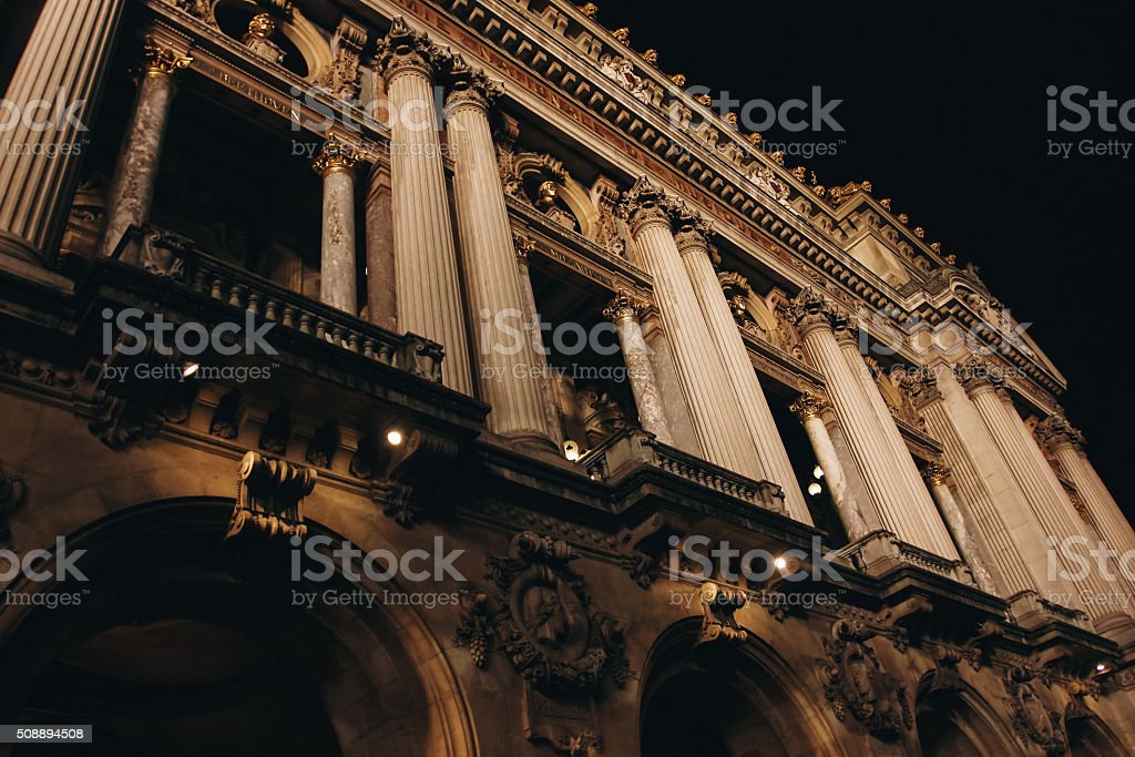 The Opera Garnier House in Paris at Night stock photo