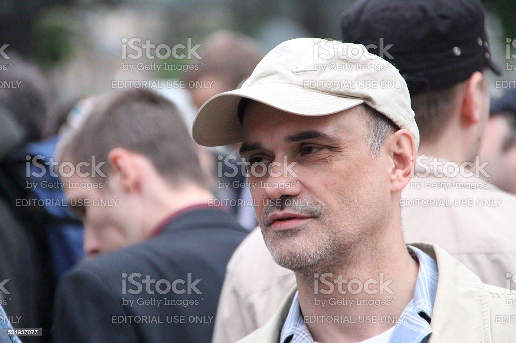 The oppositionist Igor Mandarinov on an oppositional action stock photo