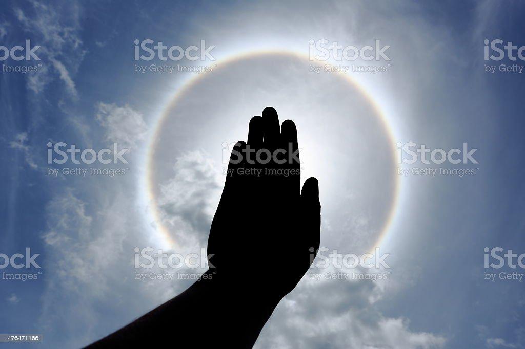 the optical phenomenon sun halo stock photo