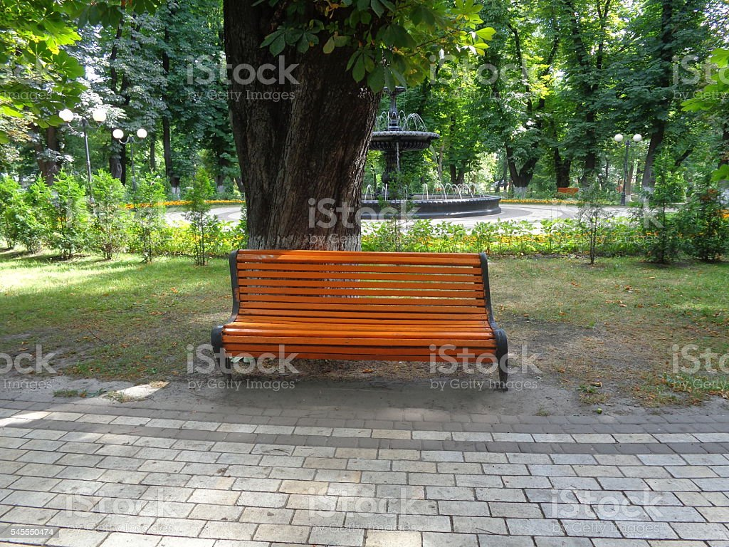 The orange bench on the background of the fountain stock photo