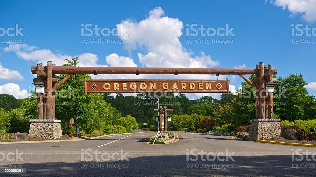 The Oregon Garden Entrance Sign Blue Sky Background stock photo