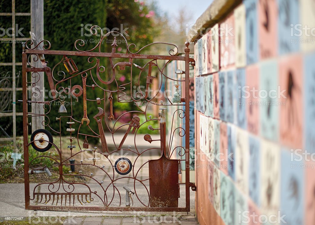 The Oregon Garden Gate in Childrens Garden Wall Walkway royalty-free stock photo