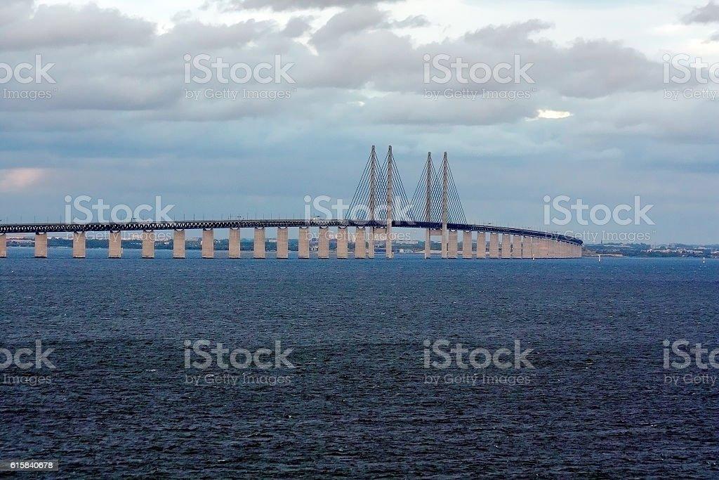 The Oresund bridge between Denmark and Sweden. stock photo
