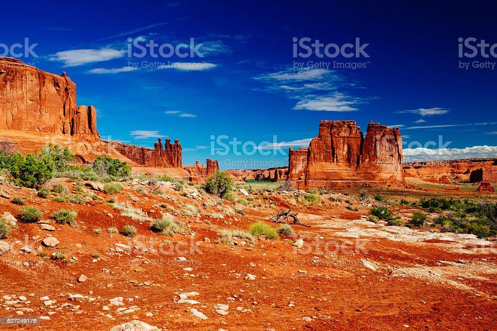 The Organ sandstone, Arches National Park, Utah, USA. stock photo