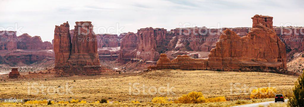 The Organ, Three Gossips and Tower of Babel. Panoramic view from the Courthouse Wash, Arches National Park, Utah stock photo