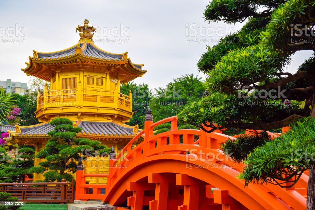 The oriental gold pavilion (pagoda) in Chinese classical garden stock photo