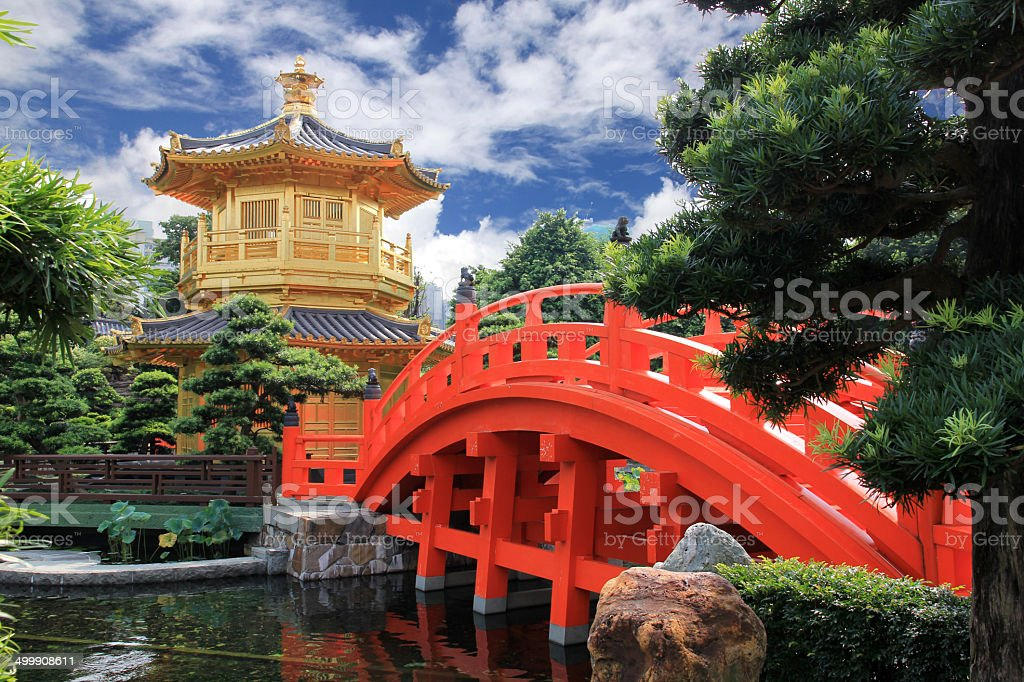 the oriental gold pavilion in Nan Lian Garden stock photo