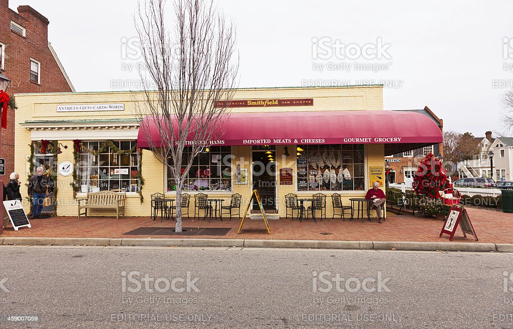 The Original Smithfield Ham Shoppe in Williamsburg, Virginia royalty-free stock photo